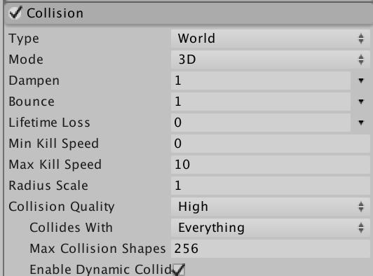 Unity particle collision menu